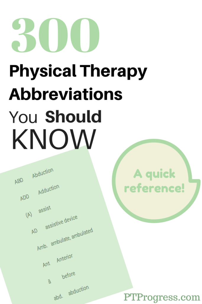 physical therapy abbreviations