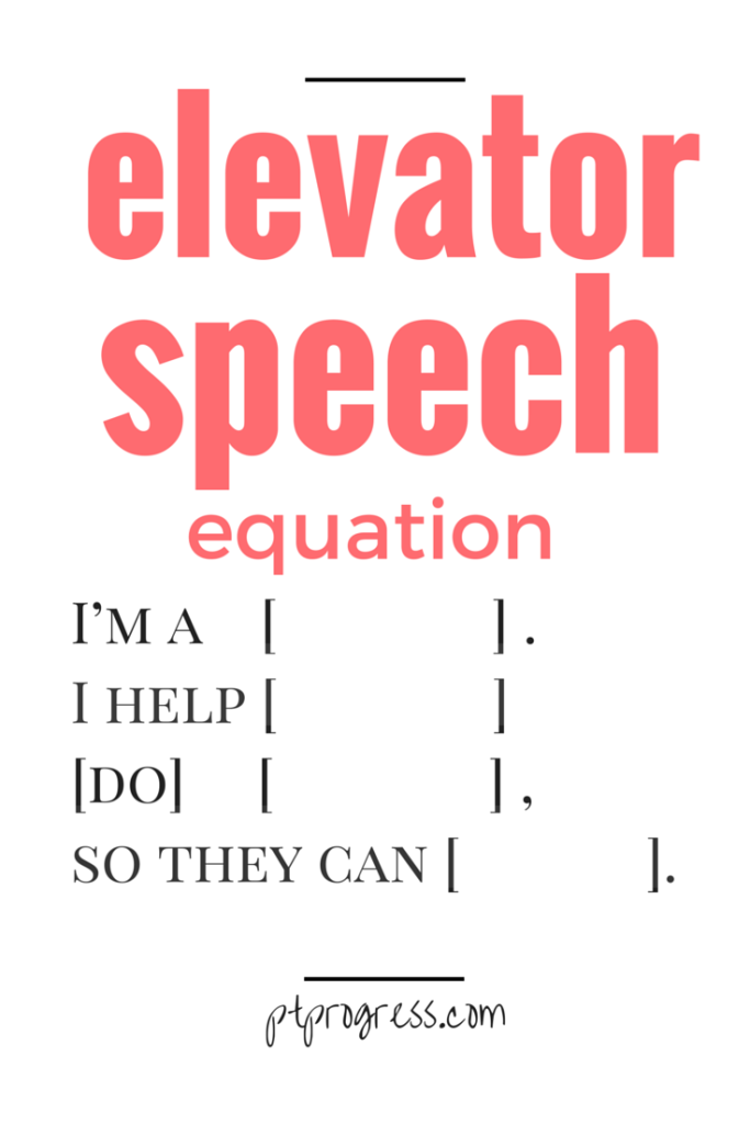 elevator speech equation