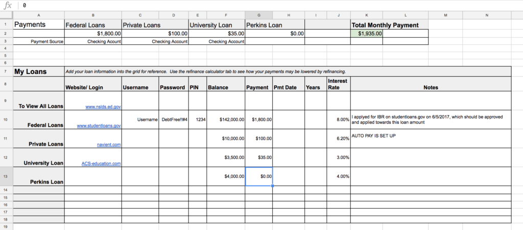 student loan tracking spreadsheet
