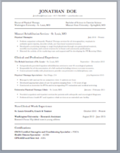 PT Resume Example  Physical Therapy Resume Sample