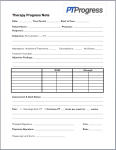 progress note template